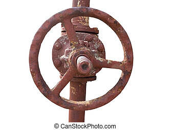 Electrical tower - old metal pipe with valve on white...