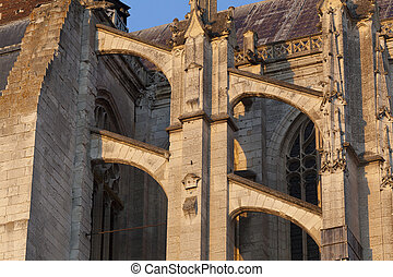 Flying buttress in the cathedral of Beaubais, Oise,...