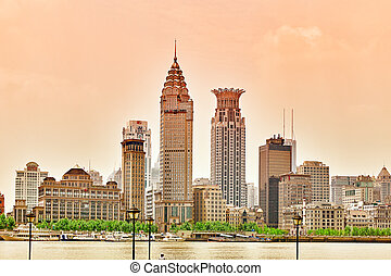 Beautiful view of Shanghai - Bund or Waitan waterfront....