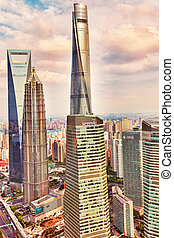 SHANGHAI, CHINA- MAY, 24, 2015: Beautiful skyscrapers, city building, beautiful office and commercial buildings in the Pudong business part of modern Shanghai - the financial capital of the Republic of China. China.