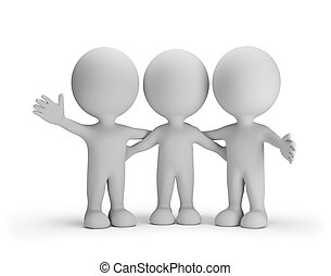 Three friends standing arm in arm. 3d image. White...