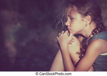 Portrait of sad little girl - Portrait of sad teen girl at...