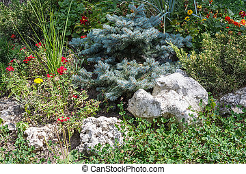 Flowerbed - Landscape with the flowerbed decoration