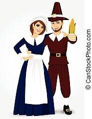 pilgrim couple - vector illustration for thanksgiving of...