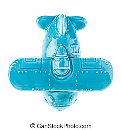 Ceramic airplane - a blue porcelain cute airplane model...