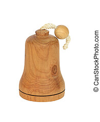 Wooden Bell - Wooden bell isolated on white background with...