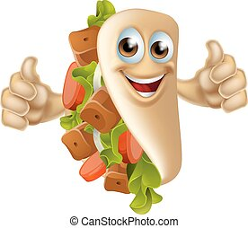 Kebab Mascot Character - An illustration of a healthy...
