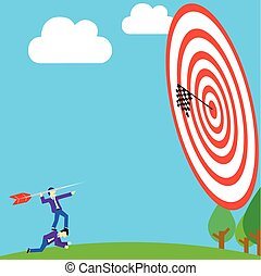businessman aiming arrow to target in vector style