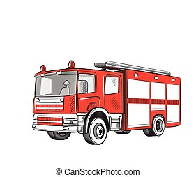 Fire truck. - Fire truck cartoon Stylized drawing. Vector...