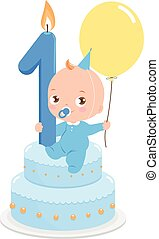 Birthday cake baby boy - Vector illustration of a baby boy...