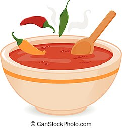 Bowl of hot chili soup - Vector illustration of a hot steamy...