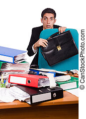 Busy businessman under work stress