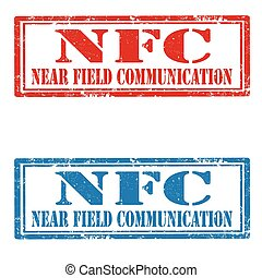 NFC-stamps - Set of grunge rubber stamps with text NFC-Near...