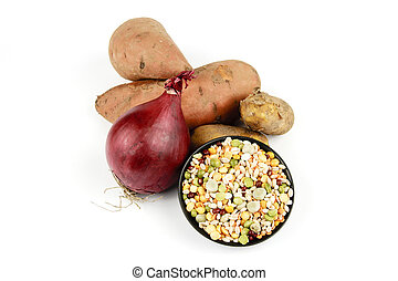 Sweet Potato with a Red Onion and Soup Pulses