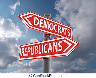 two road signs - democrats or republicans choice