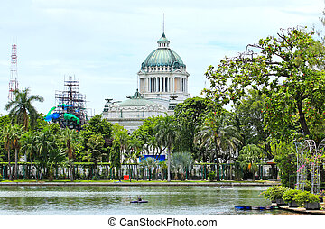 Marble building of The Throne Hall in Bangkok, where the national legislature sits.