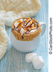 Smores hot chocolate with roasted marshmallo and graham...