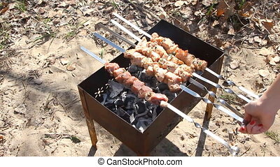 beef kebabs on the grill close up