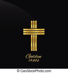 Golden cross on the black background Vector illustration