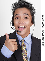 Call center agent thumbs up portrait - Cheering enthusiast...