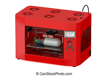 Red 3d printer isolated on white background