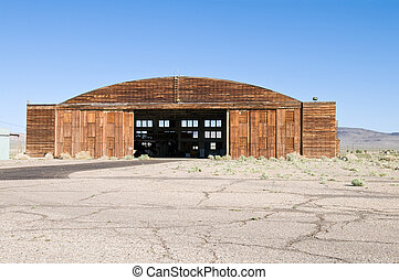 Hangar - Wooden hangar for aircraft, Tonopah Airport,...