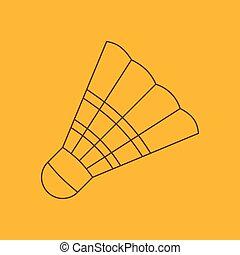 Badminton shuttlecock line icon