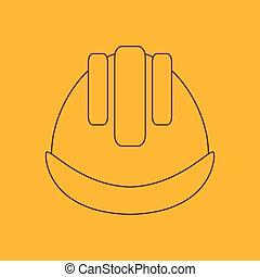 Building helmet line icon