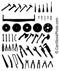 Big tools silhouette set, collection of black images on...