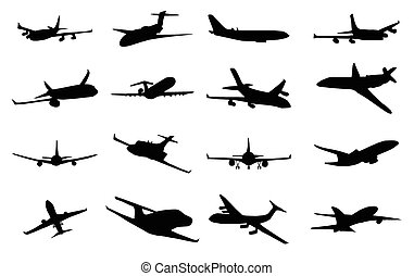 Planes silhouette set, collection of black images on white...