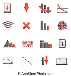 Crisis icons - Crisis bankrupt decline recession failure...