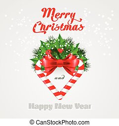 Christmas candy cane with holly and red bow. Vector illustration