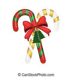 Christmas candy cane with red bow.