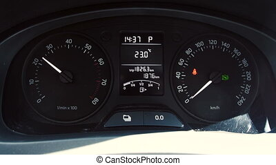 Car instrument panel, rpm, high speed acceleration