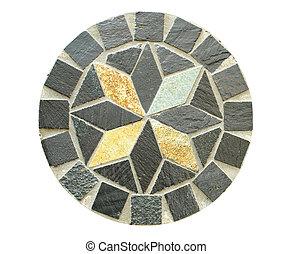 círculo, mosaico, piedra, patrón, en, blanco,...