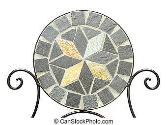 jardín, mosaico, piedra, silla, en, blanco, Plano de...