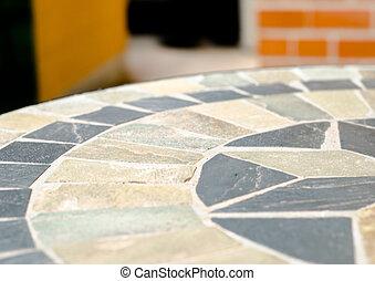 Tienda, piedra, jardín, café, tabla, mosaico