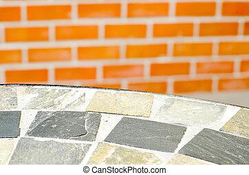 mosaico, tabla, piedra, en, café, Tienda, en,...