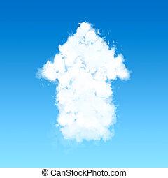 Cloud in up arrow shape on blue sky.