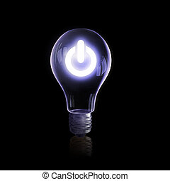 Electric light bulb - Light bulb glowing icon on dark...