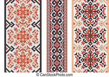 Ukrainian folk art. Set of traditional embroidery patterns. Abstract vector texture