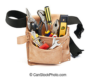 tools in tool belt - various type of tools in tool belt