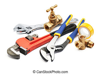 plumbing tools - various type of plumbing tools against...