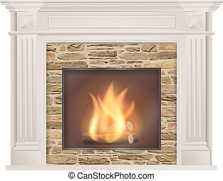 Classic fireplace with natural stone and furnace - Classic...