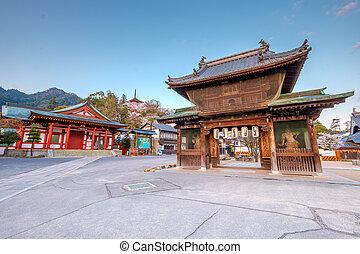 Miyajima, Japan - Temples in the beautiful site of Miyajima,...