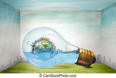 Global warming - Glass light bulb filled with water and...