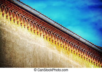 detail of a building cornice in hdr tone mapping effect