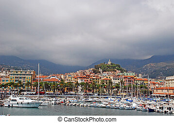 Landscape of San Remo port in Italy