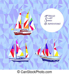 Background with ships - Sea background with shipsHand drawn...