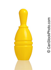 Toy bowling - Single plastic skittle of toy bowling isolated...